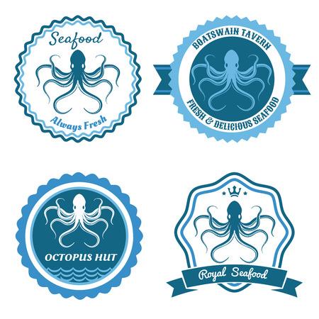 octopus: Octopus sea food logo, stickers or badge set. Vector illustration Illustration