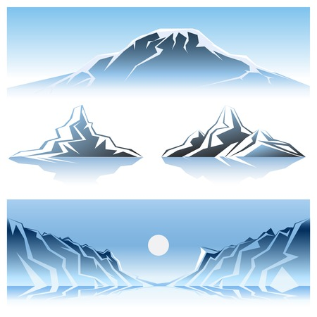 Cartooned Winter Mountains Graphic Designs with Full Moon. Vector