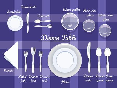 mesa de comedor: Disposici�n adecuada de Cartooned cubiertos en la mesa de comedor con Extracto violeta del dise�o del fondo.