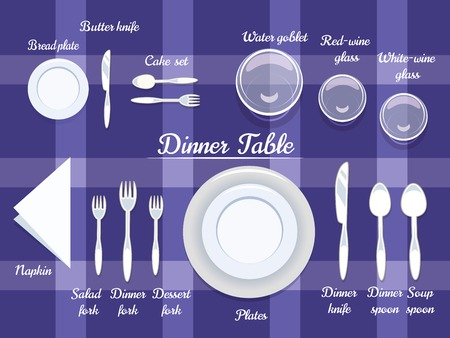 dining set: Proper Arrangement of Cartooned Cutlery on Dining Table with Abstract Violet Background Design. Illustration