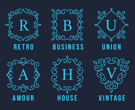 ornamental scroll: Light Blue Monogram Logos Set Graphic Design on Dark Gray Background. Emphasizing Retro  Business  union  Amour  House and Vintage Concepts.