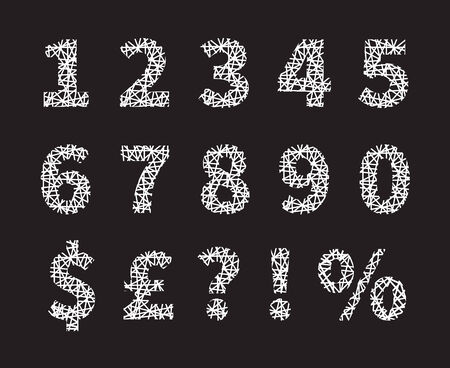 Attractive White Crossed Font Number and Symbol Designs and Gray Background.