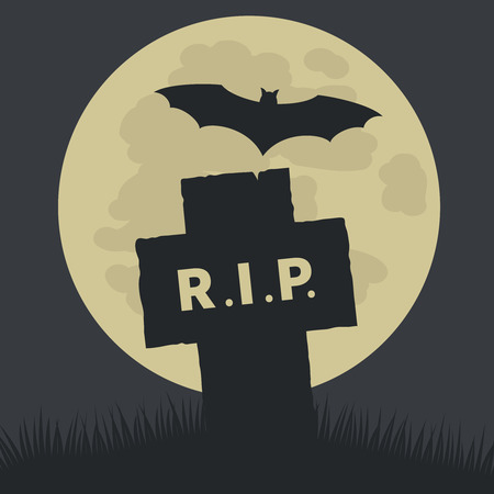 churchyard: Simple Rest in Peace Icon Graphic Design  Emphasizing Silhouette Cross and Bat on Ground with Big Full Moon at the Back. Illustration