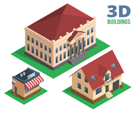three colored: Isometric House  Store and Building Graphic Designs on White Background.