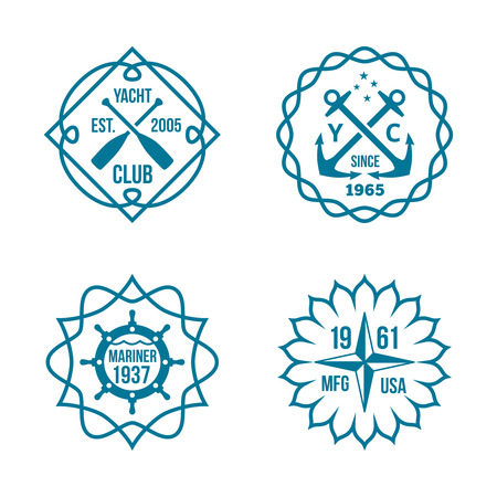 mariner: Simple Assorted Blue Green Hipster Logos Isolated on White Background.