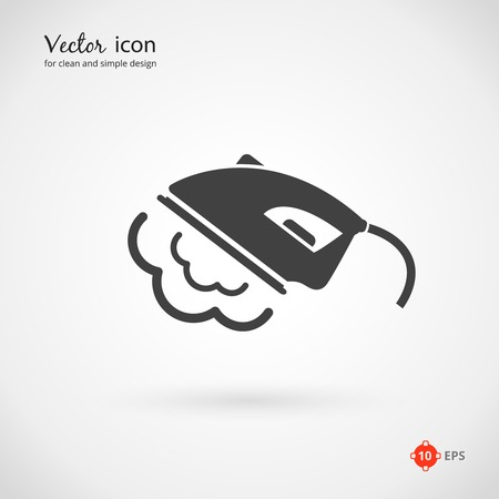 steam iron: Close up Vector Gray Hot Press Iron Appliance Icon on Very Light Gray Background. Illustration