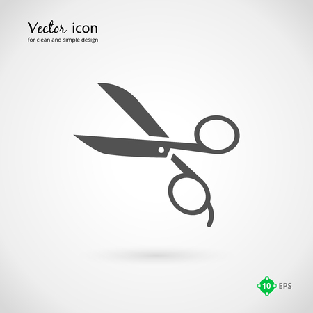 Close up Vector Gray Scissors Icon Graphic Design on Very Light Gray Background. Illustration