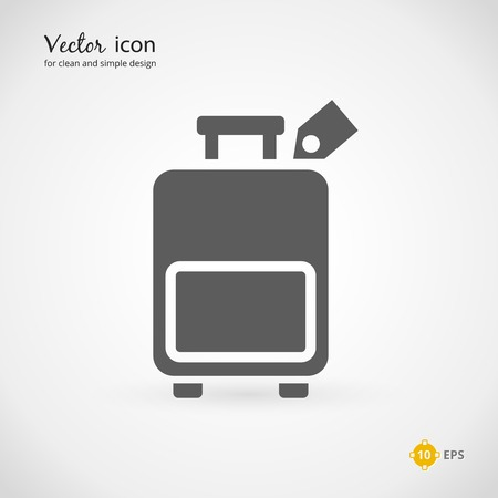 luggage tag: Single Gray Suitcase or Luggage with Tag Graphic Design. Emphasizing Vector Icon.