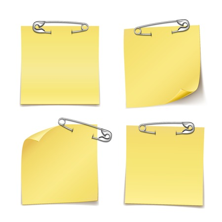 safety pin: Close up Blank Sticky Notes with Safety Pin on White Background  Emphasizing Copy Space for Texts