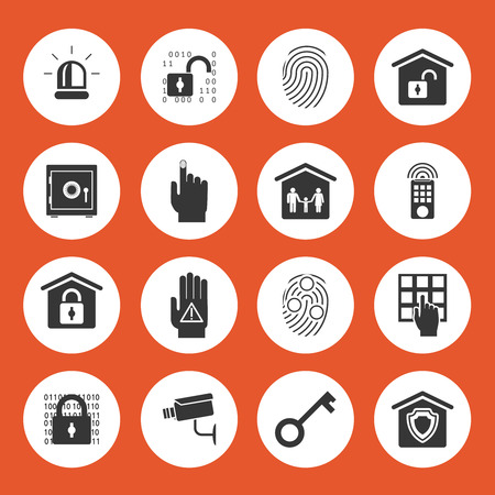programing: Home security icons Illustration