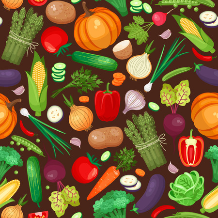 food illustration: Vegetables ingredients seamless pattern