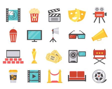 cinema strip: Modern cinema icons in flat style