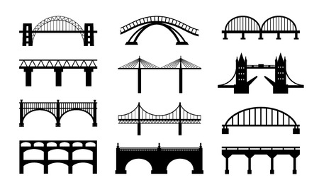 london tower bridge: Vector bridges silhouettes icons Illustration