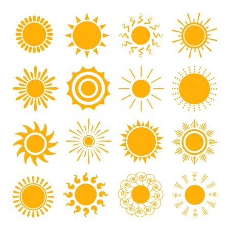오렌지 태양 아이콘 일러스트