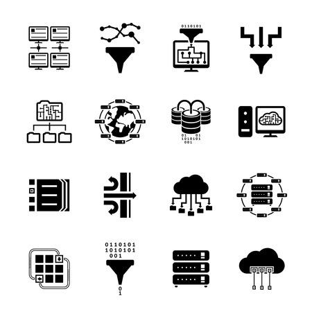 Filtre de données et transfert de données icônes Banque d'images - 35382287