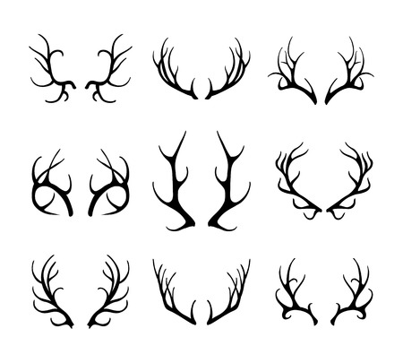 antlers silhouette: Vector deer antlers isolated on white