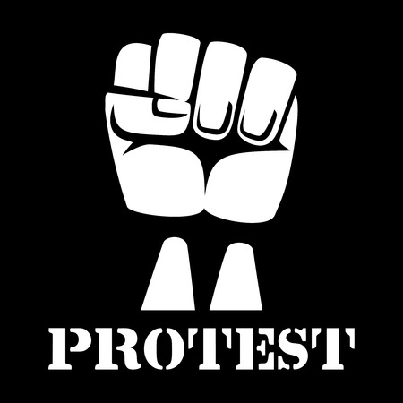 protest sign: Raised fist, sign of protest and revolution