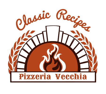 con horno de leña y la pizza Ilustración de vector