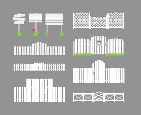 wooden fence: Set of white fences Illustration