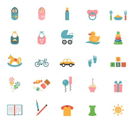 baby goods: Children toys in flat style