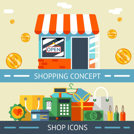 gift bags: Shopping Concept and Icons Designs Illustration