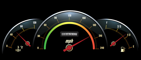 parameters: Vector Speedometer. Temperature indicator and fuel