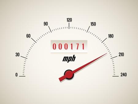 miles: Speedometer on white background