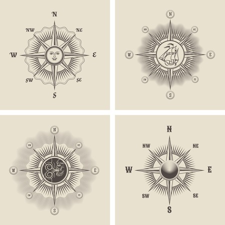 old compass: Vintage wind rose