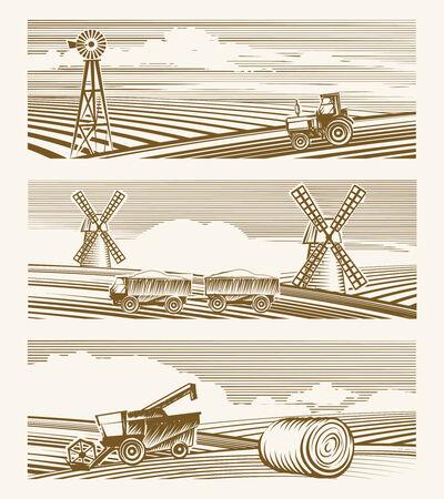 Agriculture landscapes Vector