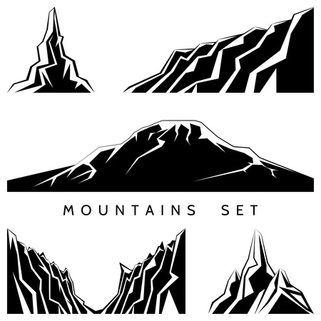 hill top: Mountains silhouettes set Illustration