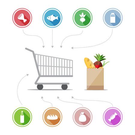bolsa de pan: La compra de iconos de los alimentos Vectores