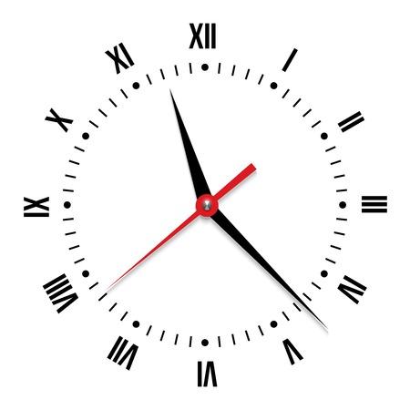 caritas pintadas: Reloj del vector en el fondo blanco