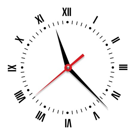 object with face: Vector clock on white background