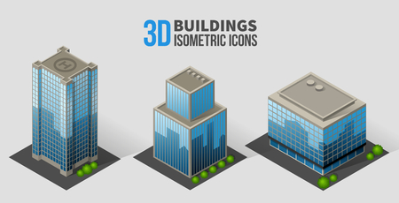 Vector skyscrapers with trees, isometric buildings of glass and concrete