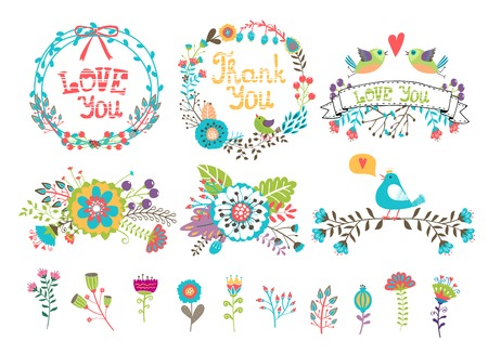 colorful flowers: Hand drawn wedding graphic. Flowers and wreaths for invitations