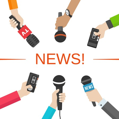 news background: News, journalism concept. Hands with microphones and dictaphones