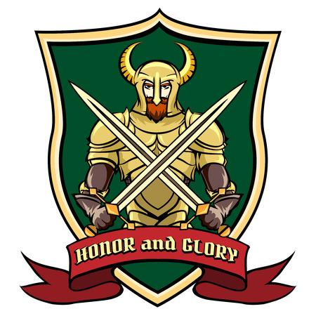 cavalier: Warrior on shield label