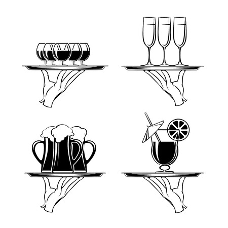 caterer: Hand with tray and drinks restaurant silhouettes Illustration