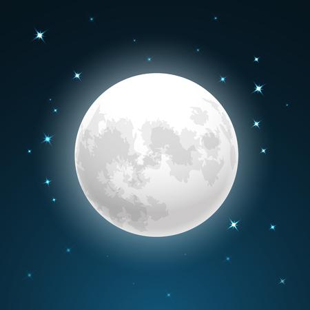 Volle maan en sterren Stock Illustratie