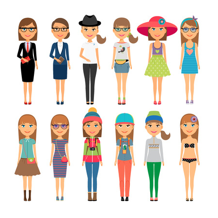 sundress: Cutie cartoon fashion girls in colorful clothes