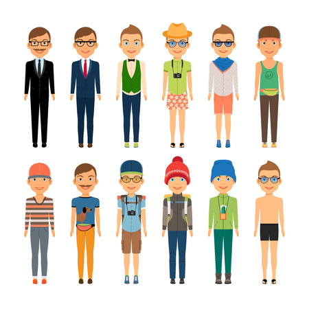 youth: Cute Cartoon Boys in Assorted Clothing Styles Illustration