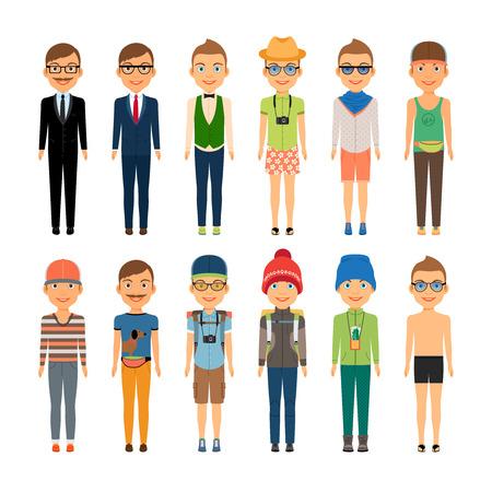 beach boy: Cute Cartoon Boys in Assorted Clothing Styles Illustration