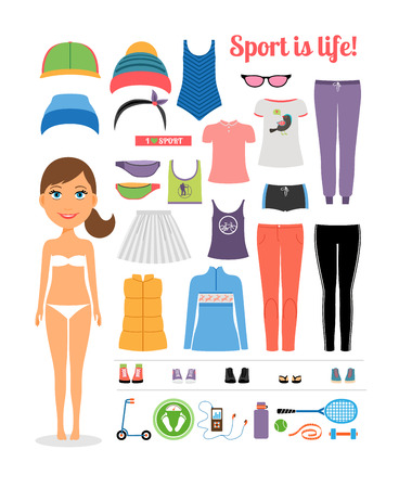 attire: Cartoon Girl with Fitness Clothing and Equipment