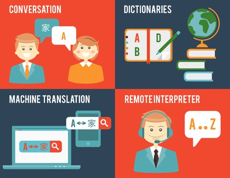 language dictionary: Translation and dictionary concepts in flat style