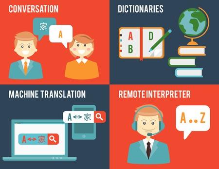 Vertaling en woordenboek concepten in vlakke stijl