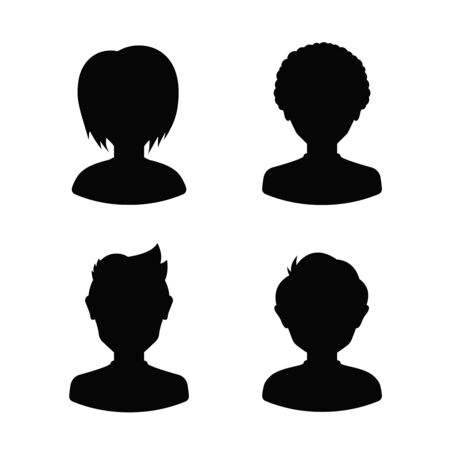 pretty teen: Avatar profile silhouettes of young people, man and woman