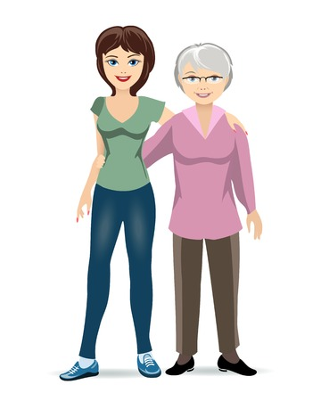 middle age woman: Elderly woman with adult daughter