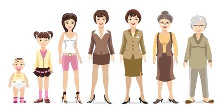 damas antiguas: Generaciones mujer Vectores