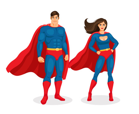 red and blue: Vector Superhero Couple Illustration