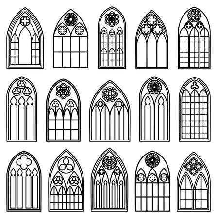 Gotické okno Siluety Ilustrace